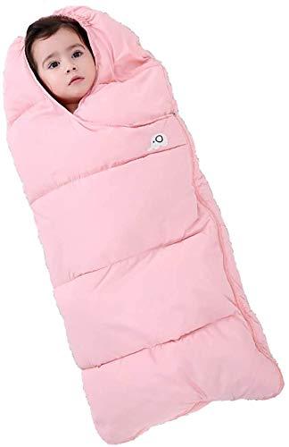JSJE Bolso para Dormir de bebé Anti patate, Noches seguras Bolsa de sueño bebé de algodón, Cochecito Universal Footmpuffin Puff a Prueba de Viento Caliente, 0-18 Meses y Pink-76cm