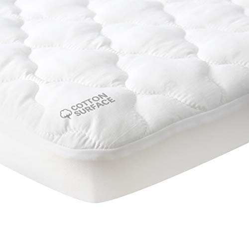 Waterproof Pack N Play Mattress Pad Protector, Cotton Fabric Comfortable and Durable, Fits Baby Portable Mini Cribs, Graco Play Yards and Foldable Mini Crib Mattress Sheets Cover
