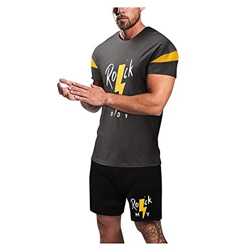 2021 Mens Sport Set Verano Conjunto 2 Piezas Casual Chándal Activewear Mens Jogging Pantalones y Manga Corta Conjunto