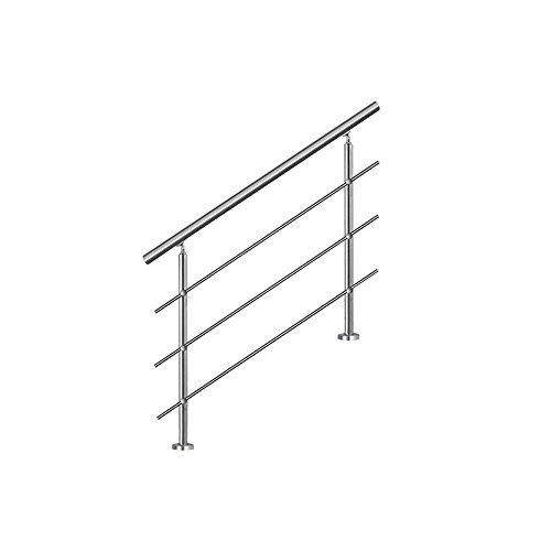 MCTECH® Geländer Edelstahl Handlauf 2 Pfosten mit 3 Querstreben für Treppen Balkon Brüstung (120 cm, 3 Querstreben)