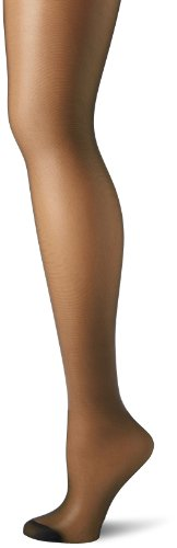 Hanes Women's Control Top Reinforced Toe Silk Reflections Panty Hose, Jet, A/B