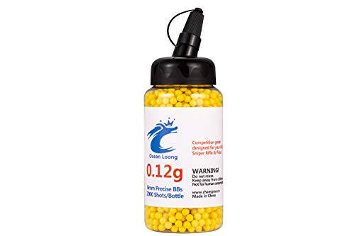 Airsoft BBS 0.12g 6mm 2000 Rounds with an resealable Plastic Bottle& an Easy-Pour spout,Yellow Airsoft pellets