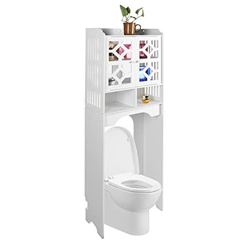 Zerone Estanteria sobre Inodoro WC, Estante de Almacenamiento para Baño Blanco, 47 x 23 x 150cm