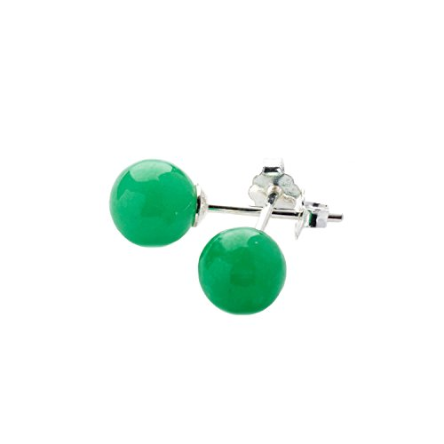 Ohrstecker mit Jade-Kugeln (5 mm) - 925 Sterlingsilber - Mit Stopper