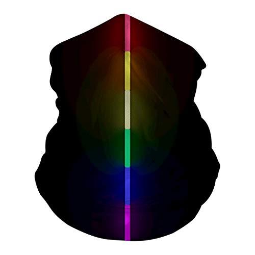 DUSH LGBT Rainbow Neon Lights Line Multi-Function Face Mask 3D Bandana Balaclava Headband