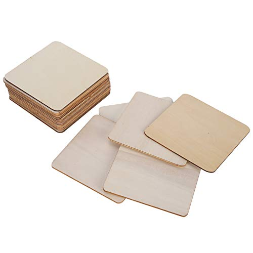 20 piezas de tablero de madera sin terminar en blanco, rebanadas naturales, cuadrado de madera para manualidades, pintura, azulejos de Scrabble, posavasos, pirograbado, decoraciones (9,8 cm)