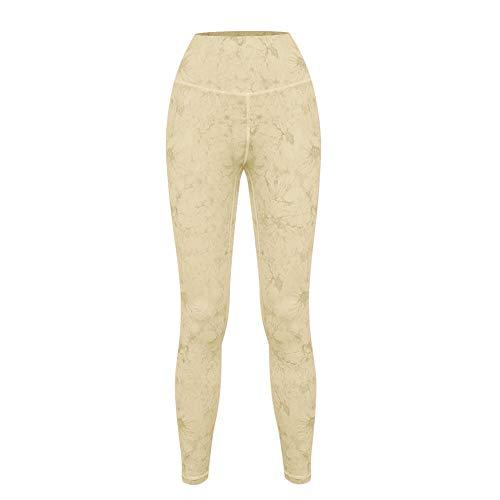 Lankfun Pantalones de Yoga de Control de Abdomen de Cintura Alta,Pantalones de Yoga de Tie-Dye Desnudos de Moda Casual-Yellow_Small,Mallas de compresión de Control de Barriga