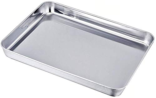 Tspkey 23 x 18 x 2.5 cm Stainless Steel Cake Bake Pan,Compact Toaster Oven Pan Tray Ovenware Professional, Deep Edge, Superior Mirror Finish, Dishwasher Safe