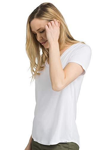 prAna - Women's Foundation Short Sleeve V-Neck, White, Small