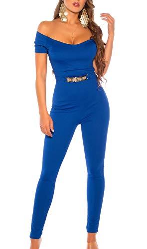 Koucla Damen Overall Jumpsuit Playsuit mit Goldschnalle & Carmen Ausschnitt (Blau, M)