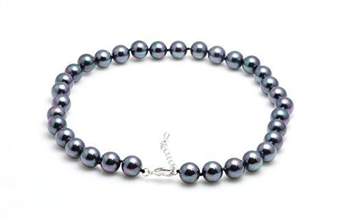 Schmuckwilli Damen Muschelkernperlen Perlenkette aus echter Muschel silbergrau 45cm 12mm mk12mm093-45