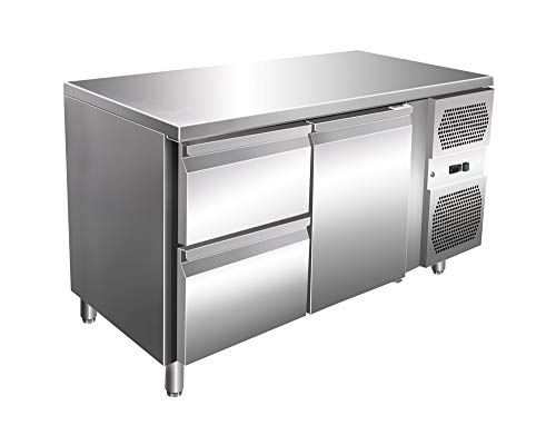 Kühltisch 1 Tür 2 Schubladen Arbeitstisch Kühlschrank Vorbereitungstisch Pizzatisch Gewerbe Gastronomie