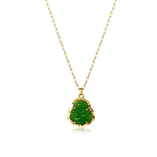 Smiling Laughing Buddha Pendant Green Jade Buddha Necklace Gold Color Link Chain Iced Out Bling Crystal Guanyin Amulet Necklace for Women Mom Jewelry-Green