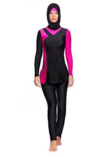 Versandhandel Henry Musch-Malinowski 4 TLG. Muslimischer Vollkörper Badeanzug Burkini/Islamische Badebekleidung Tesettür mit Hijab f5442 Farbe: Schwarz/Pink BU2(sw-pi), Gr. 40 (L)