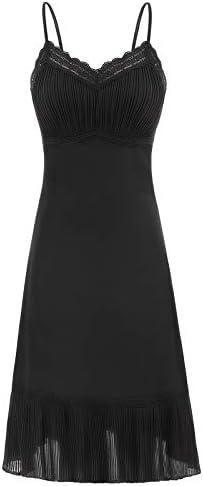 Plus Size Lace Slip Dress Extender Black Full Slip Nightgown Satin Chemise 2XL product image