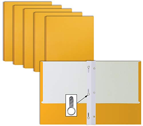 Dark Yellow Paper 2 Pocket Folders with Prongs, 50 Pack, by Better Office Products, Matte Texture, Letter Size Paper Folders, 50 Pack, with 3 Metal Prong Fastener Clips, Dark Yellow