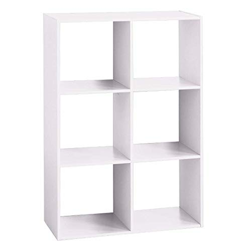 AC-Déco Etagère 6 Cases - L 67,6 x P 32 x H 100,5 cm - Bois - Blanc