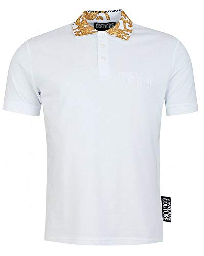 Versace Jeans Couture Baroque Collar Print Polo Shirt XL White