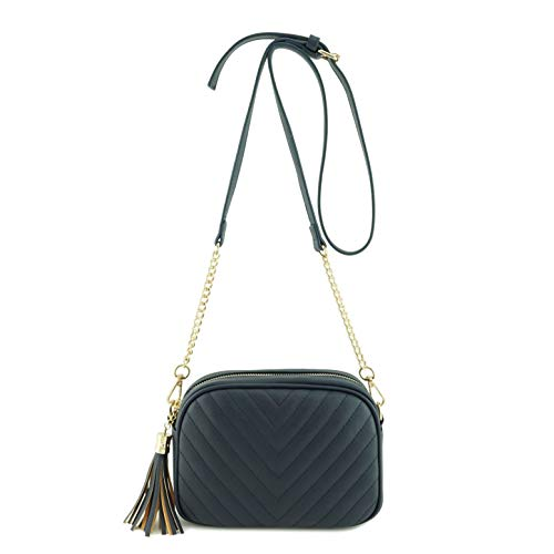 Simple Shoulder Crossbody Bag With Metal Chain Strap And Tassel Top Zipper (Navy)