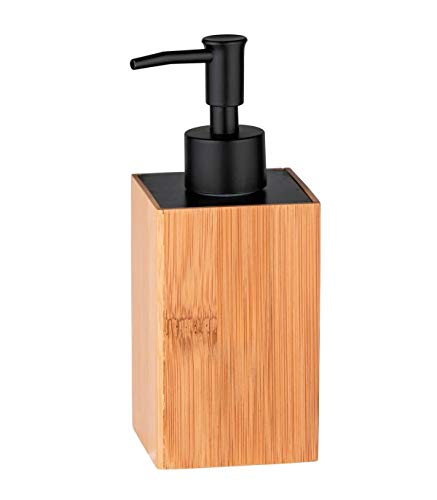WENKO Dispenser sapone Padua - Dispenser sapone liquido Capacità: 0.21 l, Bambù, 8 x 18 x 7 cm, naturale