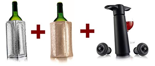 Vacu Vin Wine Saver Pump with 2 x Vacuum Bottle Stoppers - Black (Black pump + 2 Active wine coolers)
