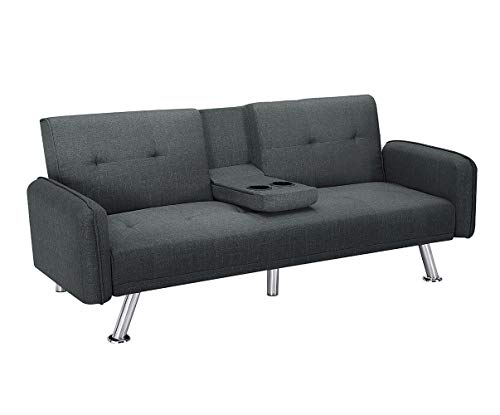 Futon Sofa Bed for Living Room, Convertible Sleeper Sofa with 2 Cup Holders (Grey)