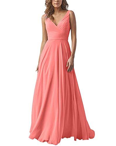 Carnivalprom Damen Chiffon Abendkleider Für Hochzeit Elegant V-Ausschnitt Brautjungfer Kleider Ballkleider(Koralle,44)