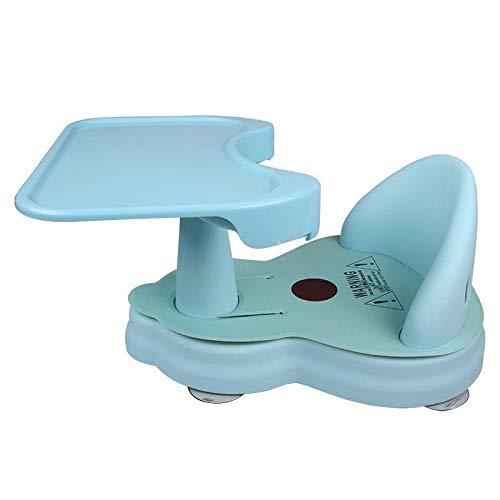 Asientos de bebé con plato desmontable, sillas de seguridad antideslizantes para baño, bañera, alimentación, juegos de juguetes, el mejor regalo para recién nacidos bebés de 6 a 24 meses (azul)
