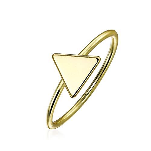 Minimalista geométrico Midi nudillo delgado 1mm banda apilable anillo triángulo plano para las mujeres 14K oro plateado plata de ley