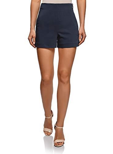 oodji Ultra Damen A-Linie-Shorts mit Seitlichem Reißverschluss, Blau, Herstellergröße DE 32 / EU 34 / XXS