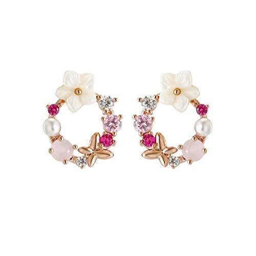 Pendientes Mujer Exquisito Cristal Perla Flor Redondo Círculo Pendientes Llamativos Mariposa...
