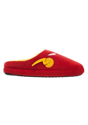 Size: X-Large The Flash Red Scuff Men's Slippers 100% polyester faux suede upper, microfleece lining Hard rubber sole w/ anti-skid texture Foam foot bed