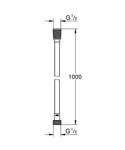 Grohe Silverflex Longlife – flexo de ducha, 1m, 12 bar, color cromo (Ref.26334000)