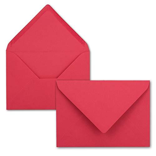 50 Brief-Umschläge - Flamingo-Pink - DIN C6-114 x 162 mm - Kuverts mit Nassklebung ohne Fenster für Gruß-Karten & Einladungen - Serie FarbenFroh