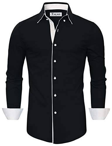 TAM WARE Mens Classic Slim Fit Contrast Inner Long Sleeve Dress Shirts TWNMS314-1-337S-BLACK-US M