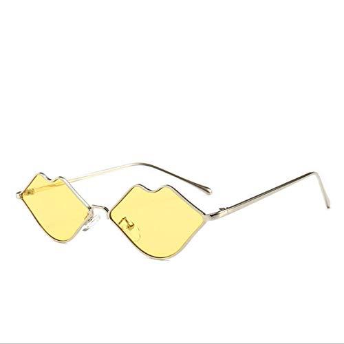 YANPAN Personalidad Retro En Forma De Labio Gafas De Sol De Metal Tendencia Femenina Tiro En La Calle Al Aire Libre Gafas De Sol De Moda C4 Marco De Plata Película Amarilla