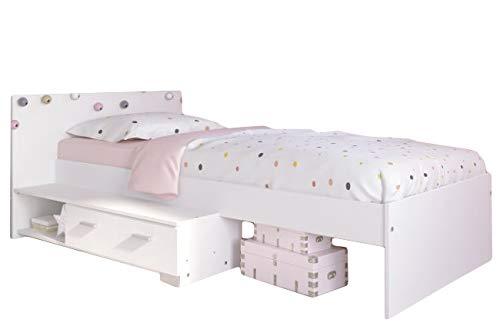 Kinderbett 90 * 200 cm Weiß inklusive Ablagefach und Schublade Jugendzimmer Kinderzimmer Jugendbett Jugendliege Bettliege Bett