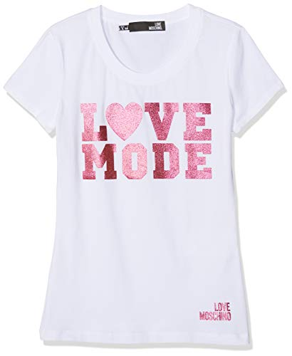 Love Moschino Love Mode Print_Short Sleeve T-Shirt, (White A00), 44 (Taglia Produttore: 42) Donna