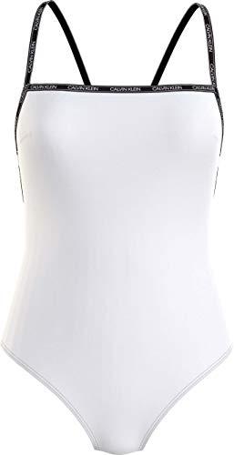 Calvin Klein Square Neck One Piece-RP Traje de Bao de una Sola Pieza, Pvh Classic Blanco, M para Mujer