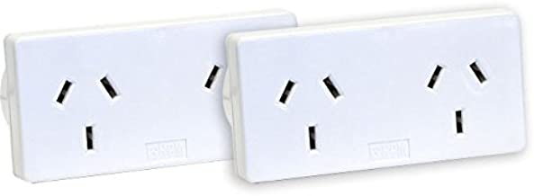 HPM D2/2WE Left and Right Extend 10A 2400W Double Adaptor 2-Pieces, White