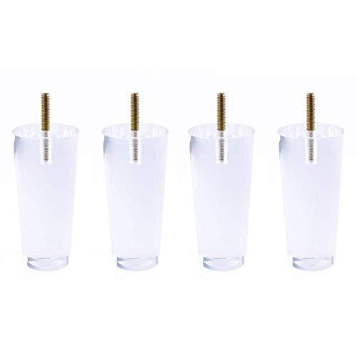 BCX Patas de acrílico para muebles, Patas de repuesto para mesa de centro transparente, Pies de soporte de vidrio para gabinete, 4 piezas,15cm