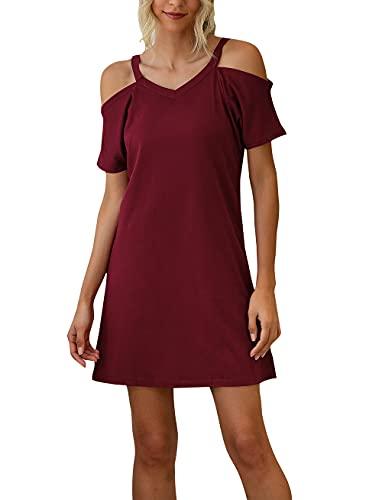 Lanven - Abito casual estivo da donna, con scollo a V, con scollo a V, stile casual Vino rosso XXL