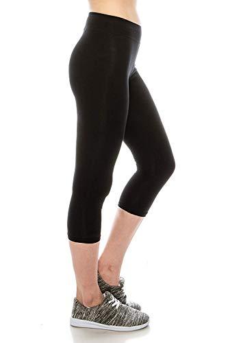EttelLut Cotton Spandex Basic Leggings for Women Sport Black L