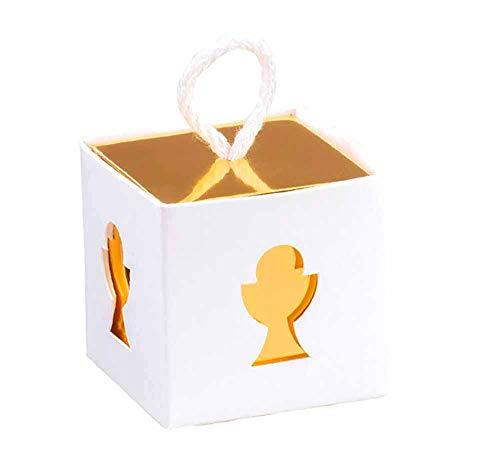 10 Cajitas regalo cuadradas de cartón con cordón color blanco y oro 5x5x5 cm. sin montaje ni contenido con tarjeta personalizada para primera comunión pequeños regalitos