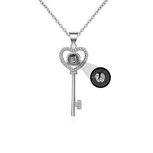 Collar de proyección personalizado Collar de foto personalizado Colgante de llave Collar de 100 idiomas TE AMO Collar de memoria(Plata Blanco y negro 14)