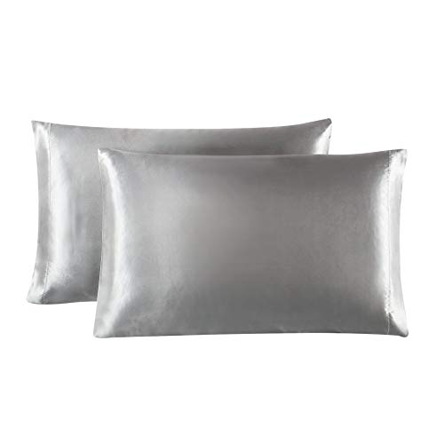 Love's cabin Silk Satin Pillowcase for Hair and Skin (Light Grey, 20x40 inches) Slip King Size Pillow Cases Set of 2 - Satin Cooling Pillow Covers with Envelope Closure
