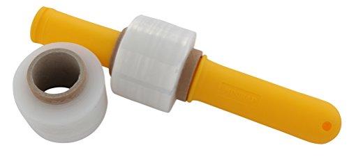 SCH-fix Verpackungs-Folie transparent | Stretchfolie zum bündeln | 50 mm | 15 Stück Wickelfolie + 1 Hand-Abroller