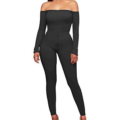 VECDY Damen Hosen Yogahosen Mode aus Schulter Langarm Sexy Jumpsuit für Hosen Haremshosen Stretchhose Tanzhosen Jogginghose Sporthosen