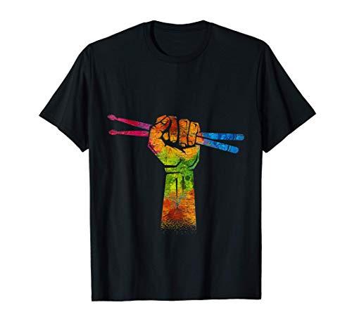 Drums Percussion Baguettes De La Batterie Colorés Drummer T-Shirt