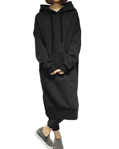 Style Dome Sudadera con Capucha para Mujer Largas Tallas Grandes Jersey Manga Larga Vestidos Sudadera Pullover Invierno Hoodie 001-Negro 6227 XXL